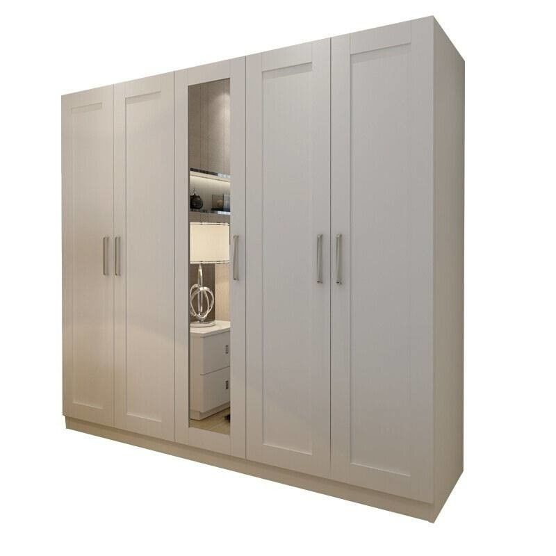 Moisture Proof Particle Board Wardrobe Cabinets with mirror For Commercial Office Building